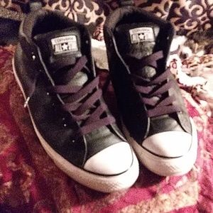 All leather converse mid top mens 9